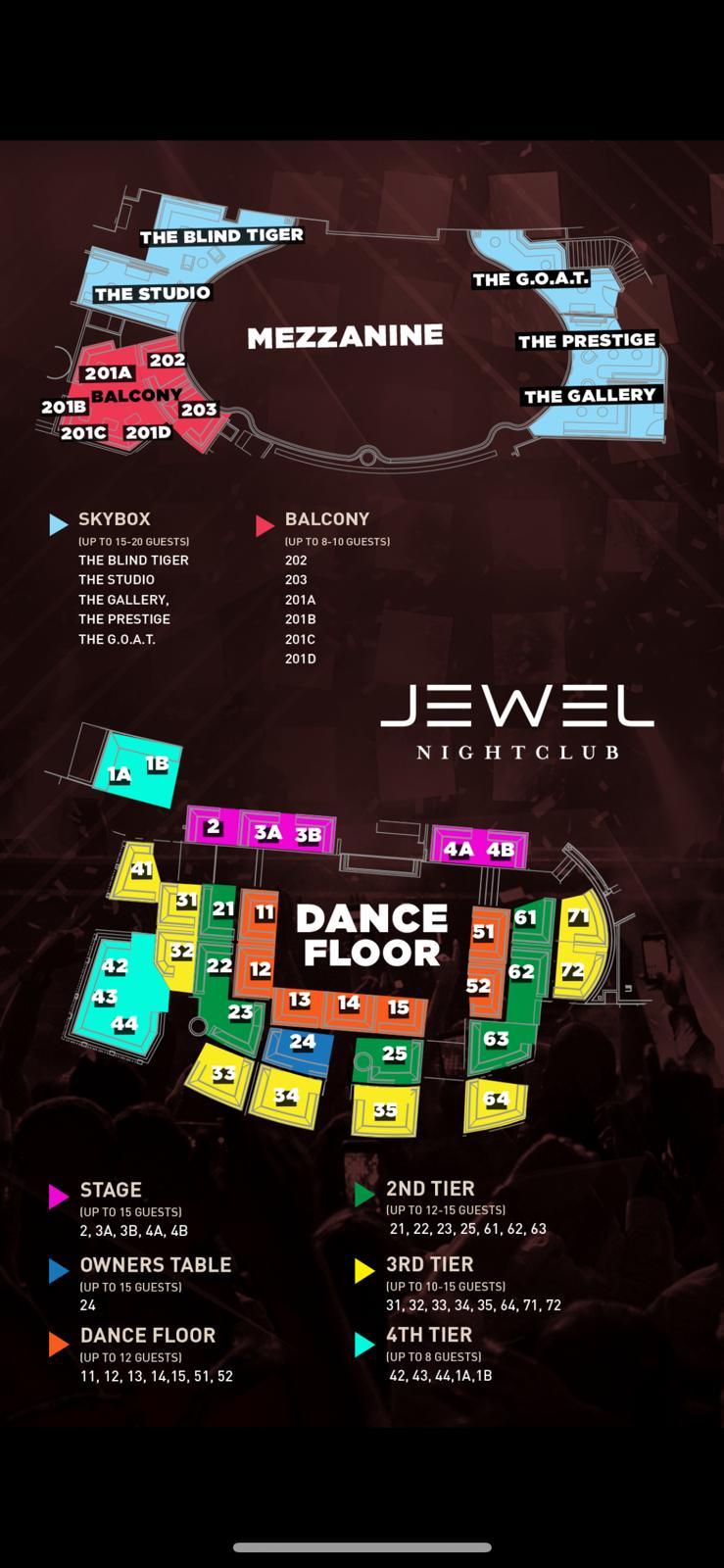 Jewel Las Vegas Table Map