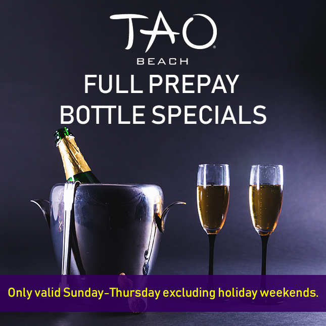 tao beach bottle specials